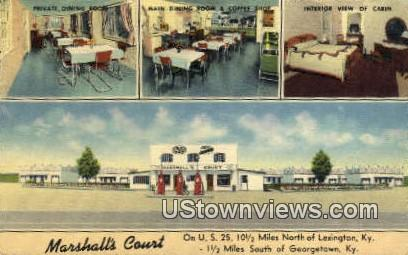 Marshalls Court, Gas Station Linen - Lexington, Kentucky KY Postcard