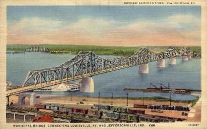 Municipal Bridge - Louisville, Kentucky KY Postcard