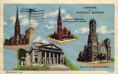 Churches of Louisville - Kentucky KY Postcard