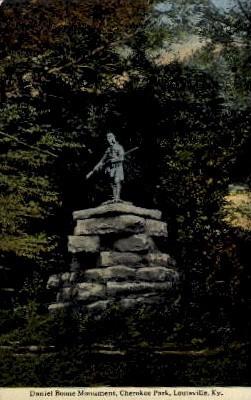Daniel Boone Monument, Cherokee Park - Louisville, Kentucky KY Postcard