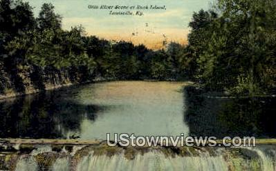 Ohio River Rock Island - Louisville, Kentucky KY Postcard