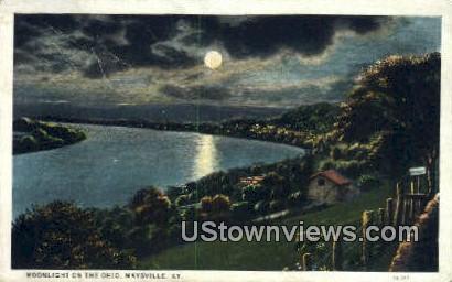 Moonlight On The Ohio River - Maysville, Kentucky KY Postcard