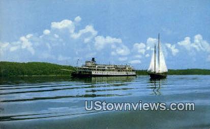 Delta Queen And Schooner - Kentucky Lake Postcards, Kentucky KY Postcard