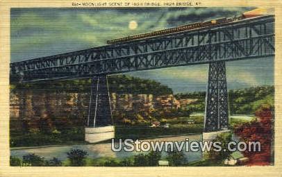 High Bridge At Night - Kentucky KY Postcard