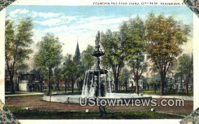 Fountain And Band Stand - Henderson, Kentucky KY Postcard