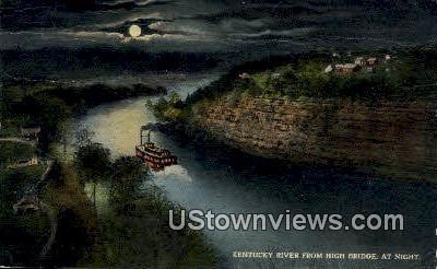 River From High Bridge At Night - Kentucky KY Postcard