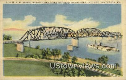 L & N R R Bridge - Henderson, Kentucky KY Postcard