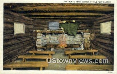 Kentucky's First School - Old Fort Harrod Postcard