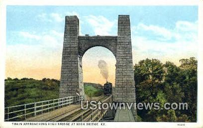 Train Approaching High Bridge - Kentucky KY Postcard