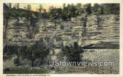 Stairway & Cliffs - High Bridge, Kentucky KY Postcard