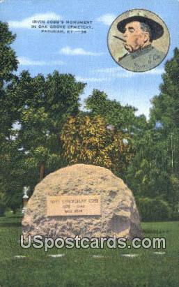 Irvin Cobb's Monument - Paducah, Kentucky KY Postcard