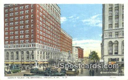 Corner Fourth & Broadway - Louisville, Kentucky KY Postcard