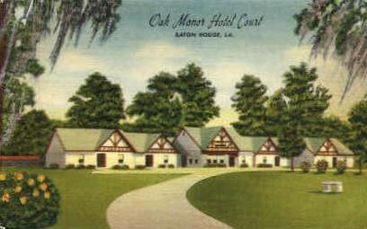 Oak Motor Hotel Court - Baton Rouge, Louisiana LA Postcard