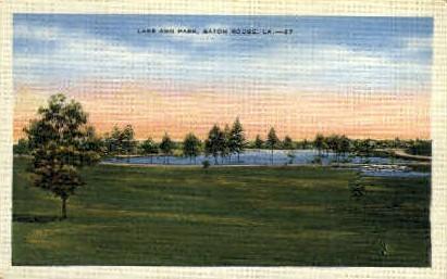 Lake & Park - Baton Rouge, Louisiana LA Postcard