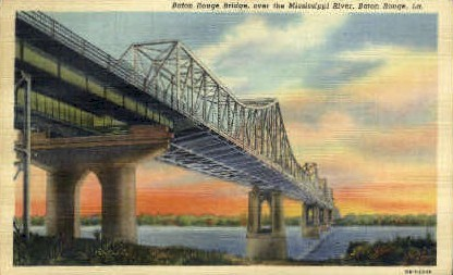 Baton Rouge Bridge - Louisiana LA Postcard