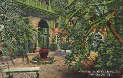 Courtyard in French Quarter - New Orleans, Louisiana LA Postcard