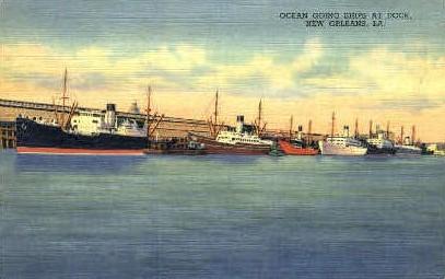 Ocean Going Ships at Dock - New Orleans, Louisiana LA Postcard