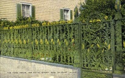 Corn Fence, Royal Street - New Orleans, Louisiana LA Postcard