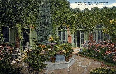 Courtyard of Little Theatre  - New Orleans, Louisiana LA Postcard