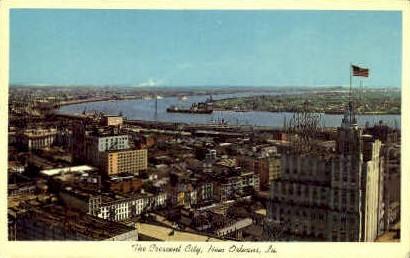 Mississippi River Crescent - New Orleans, Louisiana LA Postcard
