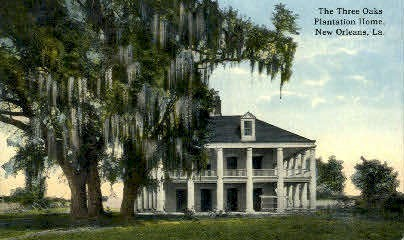 Three Oaks Plantation Home - New Orleans, Louisiana LA Postcard