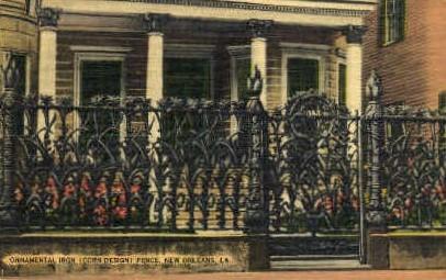 Ornamental Iron Fence  - New Orleans, Louisiana LA Postcard