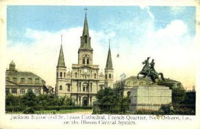 Jackson Statue & St. Louis Cathedral - New Orleans, Louisiana LA Postcard