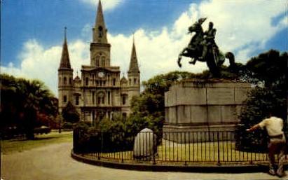 St Louis Cathedral & Jackson Monument - New Orleans, Louisiana LA Postcard