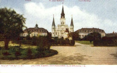 Jackson Square and Monument - New Orleans, Louisiana LA Postcard