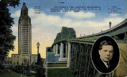 State Capitol & Huey P. Long Bridge - Baton Rouge, Louisiana LA Postcard