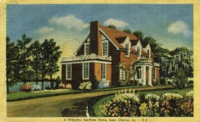 Southern Home - Lake Charles, Louisiana LA Postcard