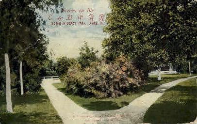 Depot Park - Ames, Louisiana LA Postcard