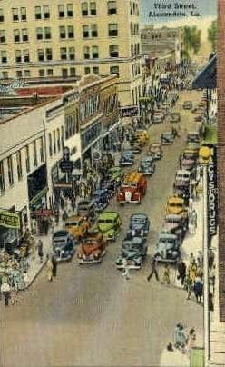 Third Street - Alexandria, Louisiana LA Postcard