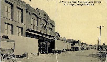 Front Street - Morgan City, Louisiana LA Postcard