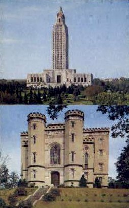 Old and New Louisiana State Capitol Buildings - Baton Rouge Postcard
