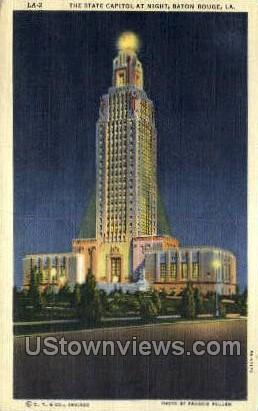 State capitol at night - Baton Rouge, Louisiana LA Postcard