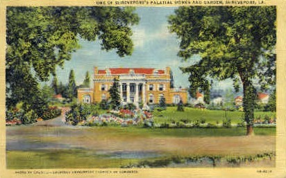 Palatial Home and Gargen - Shreveport, Louisiana LA Postcard