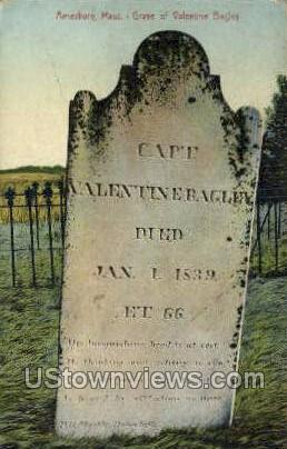 Grave of Valentine Bagley - Amesbury, Massachusetts MA Postcard