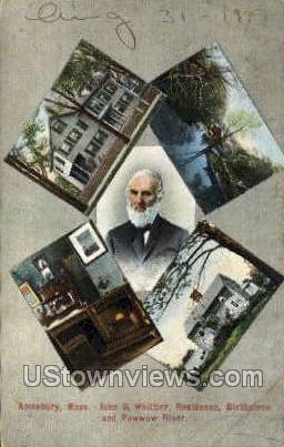 John G. Whittier - Amesbury, Massachusetts MA Postcard