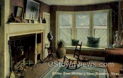 Sitting Room, Whittier's Home - Amesbury, Massachusetts MA Postcard