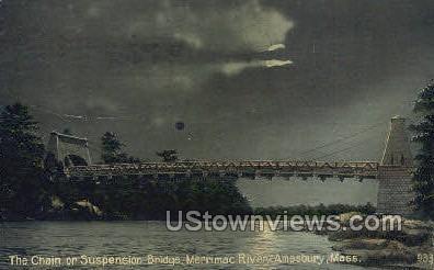 The Chain or Suspension Bridge - Amesbury, Massachusetts MA Postcard