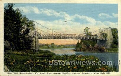 Chain Bridge - Amesbury, Massachusetts MA Postcard