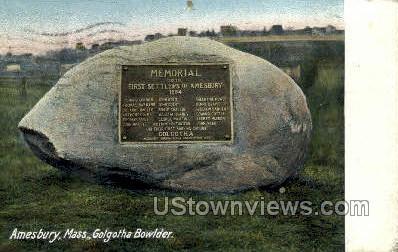 Golgotha Bowlder - Amesbury, Massachusetts MA Postcard
