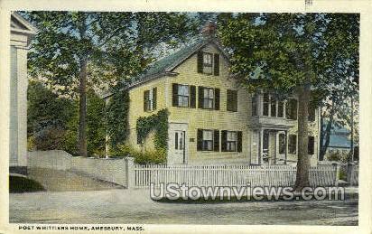 Poet Whittiers Home - Amesbury, Massachusetts MA Postcard