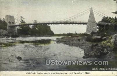 Old Chain Bridge - Amesbury, Massachusetts MA Postcard