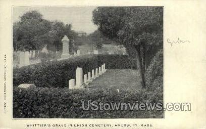 Whittier's Grave, Union Cemetery - Amesbury, Massachusetts MA Postcard
