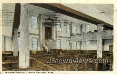 Interior, Rocky Hill Church - Amesbury, Massachusetts MA Postcard