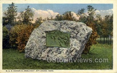 D. A. R. Memorial Monument - Attleboro, Massachusetts MA Postcard