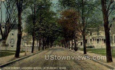 Peck Street - Attleboro, Massachusetts MA Postcard
