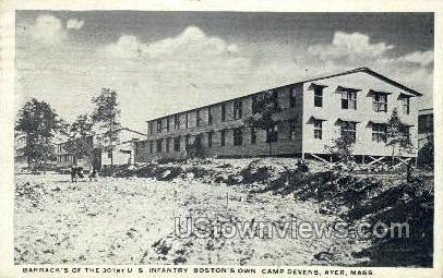 Barracks, Camp Devens - Ayer, Massachusetts MA Postcard